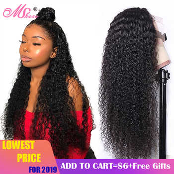 Mshere Peruvian Curly Human Hair Wig Glueless Lace Front Human Hair Wig With Baby Hair Pre Plucked Remy Hair 150% Density - DISCOUNT ITEM  52% OFF All Category