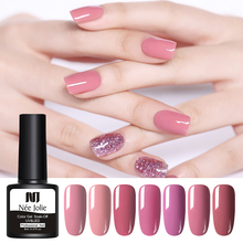 NEE JOLIE 1 Bottle 8ml Pale Mauve Series Color Gel Polish One-shot Soak Off UV Varnish Nail LED Lamp Needed 12 Colors