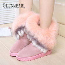 Women Winter Boots Cotton Shoes Warm Plush Snow Boots Platform Ankle Boots Woman Slip On Round Toes Non-slip Casual Shoes 2019 hee grand winter snow boots flock inside women ankle boots warm platform shoes woman slip on flats casual women shoes xwx1385