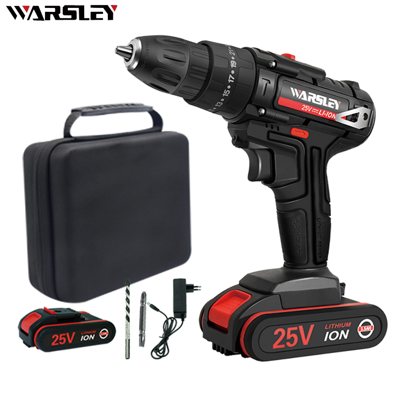 25V Cordless Drill Impact Drill Electric Screwdriver Electric Hand Drill Battery Cordless Hammer Drill Home Diy Power Tools