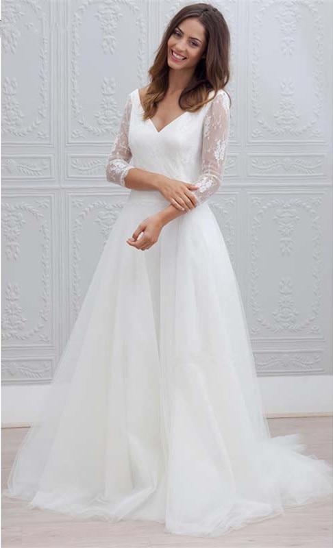 Simple V Neck Lace Wedding Dresses Three Quarter Sleeve Tulle Bridal Dress Sweep-train Backless Wedding Dress