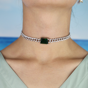 Image 5 - Big green baguette cz Miami Cuban link chain necklace for women iced out bling cz chain choker 32+8cm