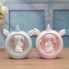 Sevimli Unicorn Mini Led gece lambası oyuncak karikatür Anime Unicorn reçine aksiyon figürü oyuncakları başucu lambası çocuk çocuk hediye