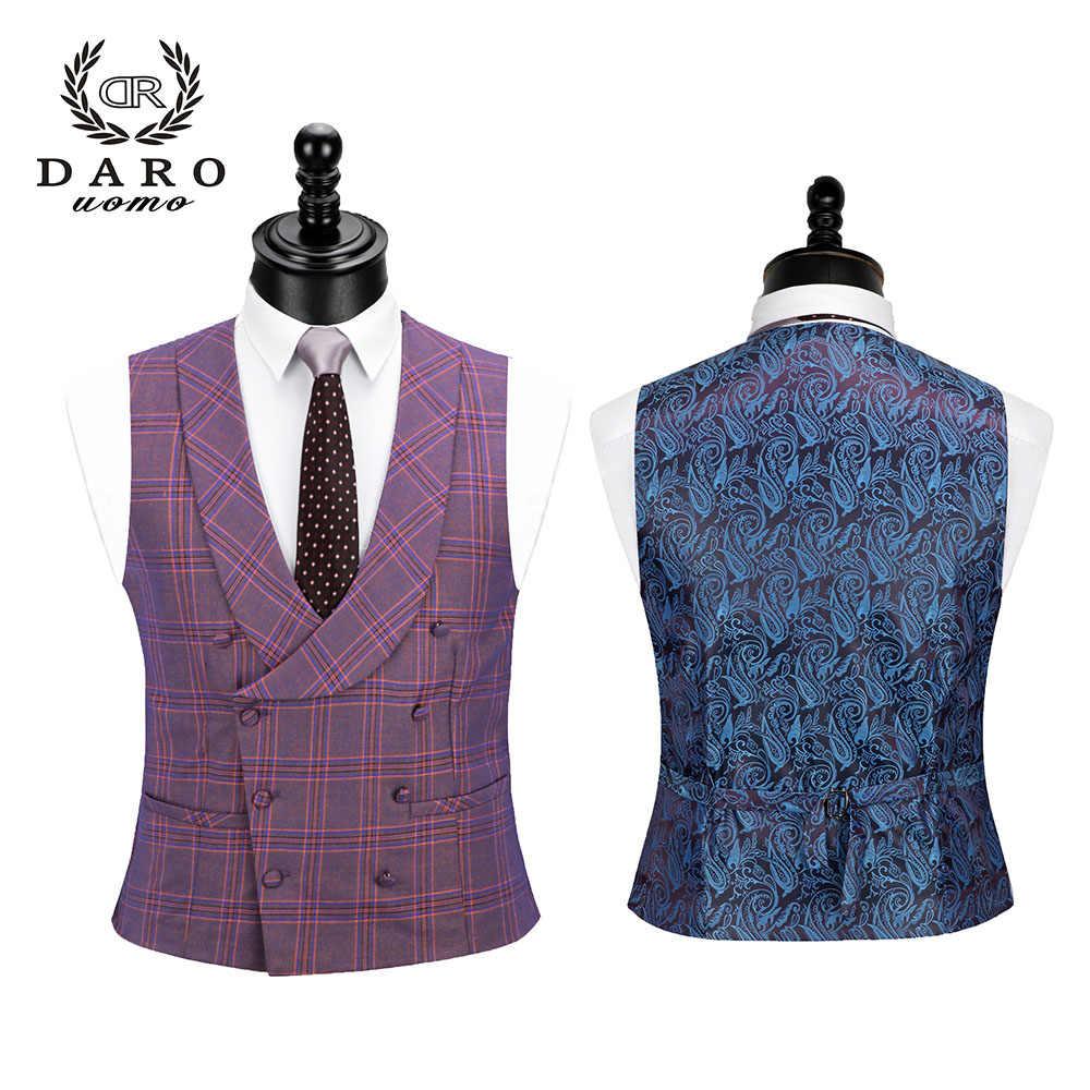 Daro 2019 Baru Pria Suit 3 Buah Fashion Kotak-kotak Suit Slim Fit Blue Ungu Pernikahan Gaun Pakaian Blazer Celana dan rompi DR8193