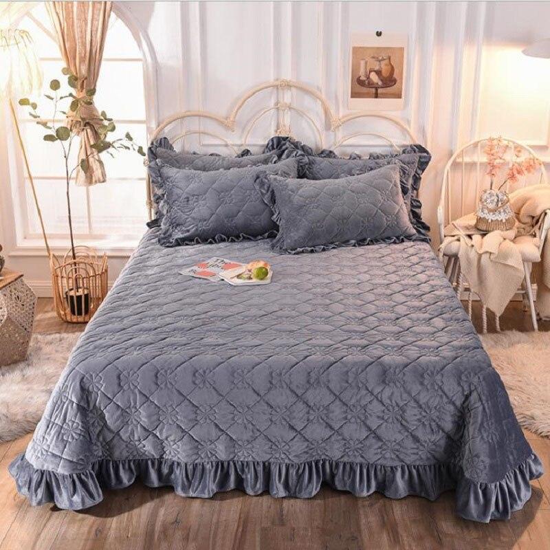 Хрустальное бархатное плотное покрывало, простыня однотонного цвета, теплое покрывало для кровати (или наволочка), постельное белье королевского размера|Покрывало| | АлиЭкспресс
