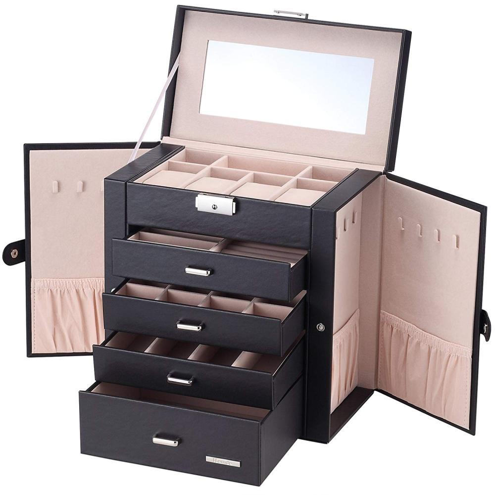 5 couches noir grand bijoux emballage et présentoir Armoire Dressing coffre avec fermoirs Bracelet anneau organisateur étuis de transport