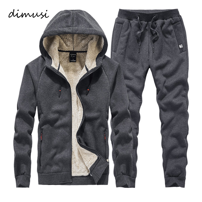 DIMUSI Men Sweat Sets Winter Fleece Warm Sporting Suit Sweatshirt +Sweatpants Mens Clothing 2 Pieces Sets Slim Tracksuit Hoodies