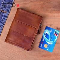 AETOO Original handmade leather short wallet retro cow leather vertical zipper male buckle purse couple Vintage Billfold Purse