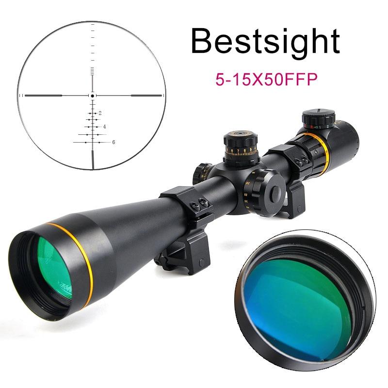 Bestsight 5-15x50 FFP lunette optique dorée avec visée verte rouge lunette de chasse parallaxe latérale pour fusil de Sniper Airsoft