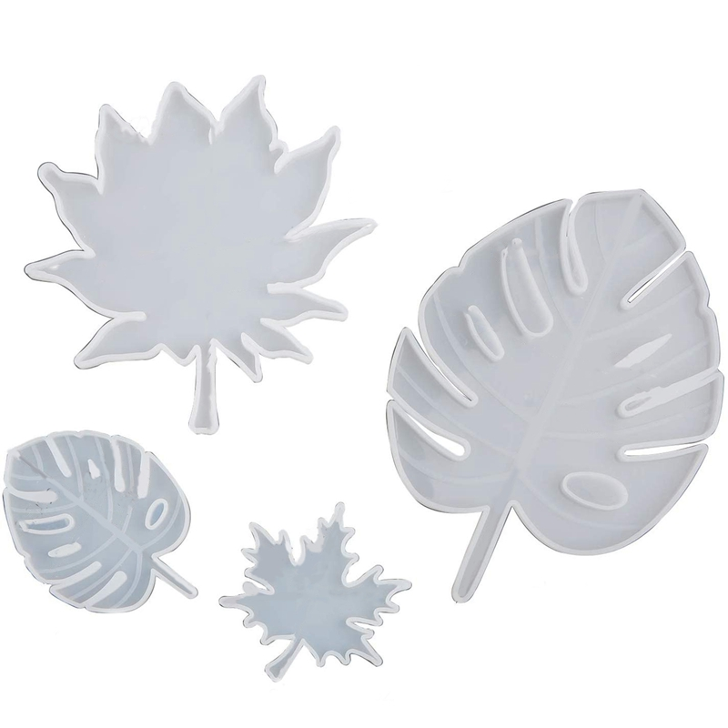 Leaf Silicone Mold, 4 Pieces Silicone Coaster Mold Including Silicone Palm Leaf Mold and Maple Leaf Mold, Epoxy Resin Mold, Used