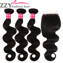 ZZY Fashion hair Peruvian Body Wave Human Hair Bundles With Closure 4 Pcs/Lot Non-Remy Hair 3 Bundles with Lace Closure(China)