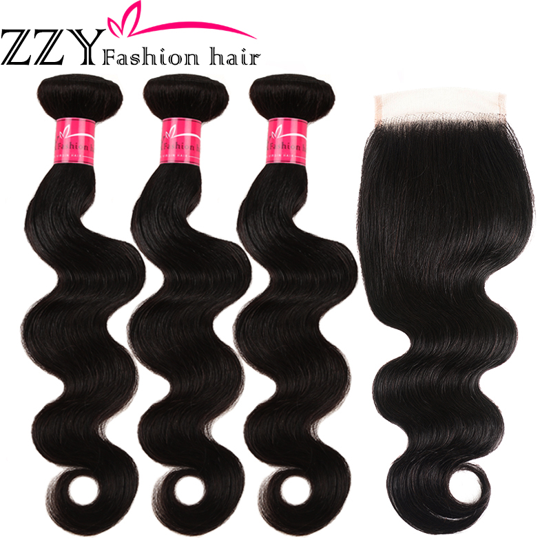 ZZY Fashion Hair Peruvian Body Wave Human Hair Bundles With Closure 4 Pcs/Lot Non-remy Hair 3 Bundles With Lace Closure