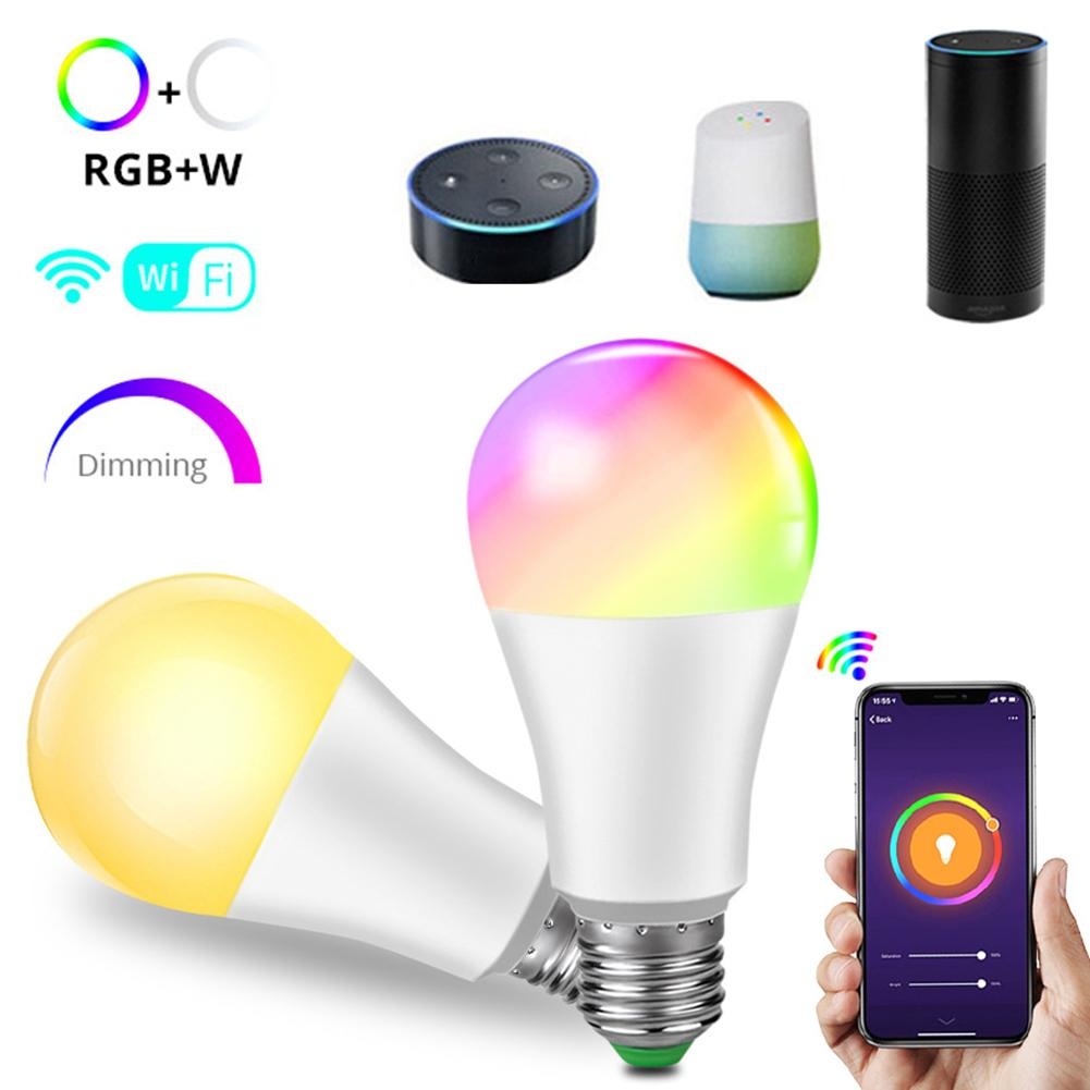 15 w inteligente wi fi lampada regulavel rgb branco e27 lampada led trabalho com alexa google