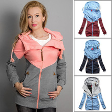 CHUQING New Womens Personality Zipper Color Matching Hooded Long-sleeved Plus Velvet Sweatshirt Women