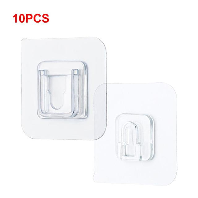 10pcs Double Sided Adhesive Wall Hooks Hanger Strong Transparent Hooks Suction Cup Sucker Wall Storage Holder Home Hook