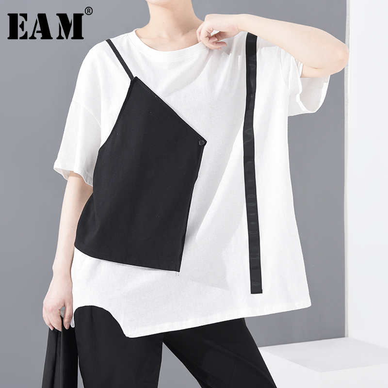 [EAM] Women White Contrast Color Split Big Size T-shirt New Round Neck Half Sleeve Fashion Tide  Spring Summer 2020 1U06800
