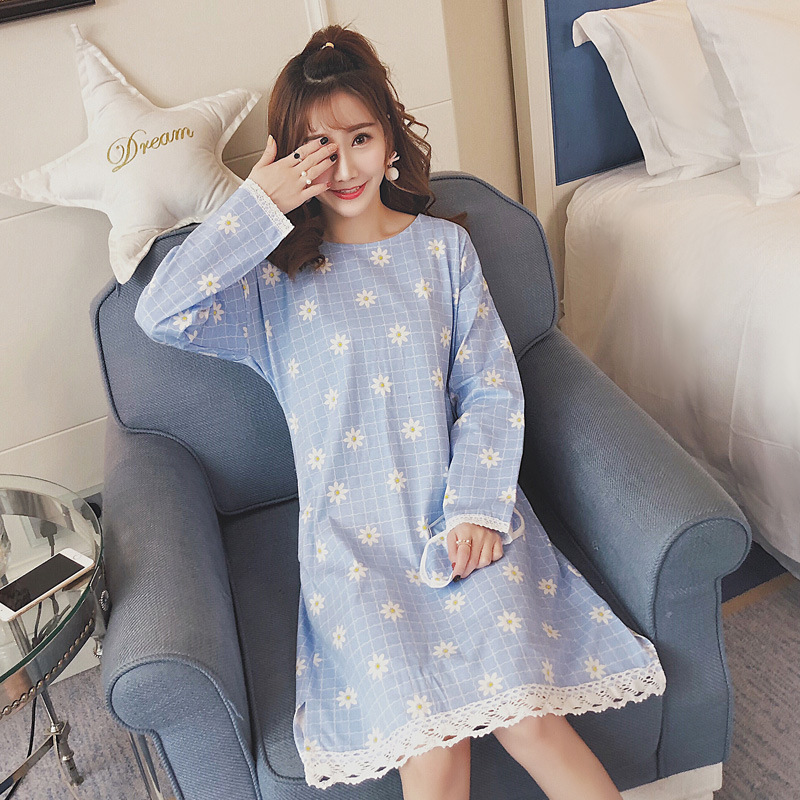Pure Cotton Long Sleeve Nightgown Women's Autumn Korean-style New Style Printed Plaid Small Chrysanthemum Crew Neck Lace Dress