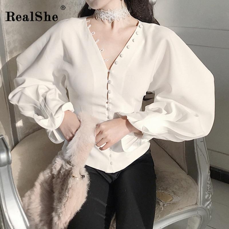 RealShe nouveau automne femme 2018 mode Blouse femmes v-cou pétale manches bouton chemise femmes décontracté chemise solide dames Blouses