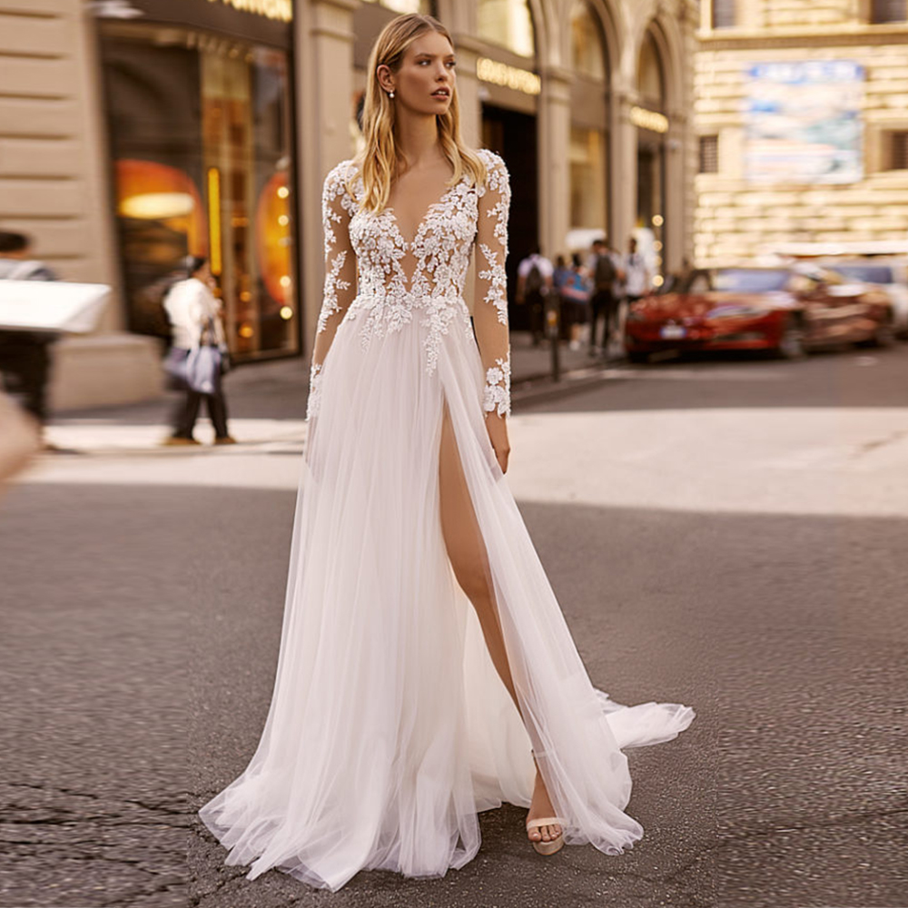 Booma Bohemian Wedding Dress 2020 Elegant Lace Appliqued With Beading Soft Tulle Long Sleeve Beach Boho Bridal Gowns With Split