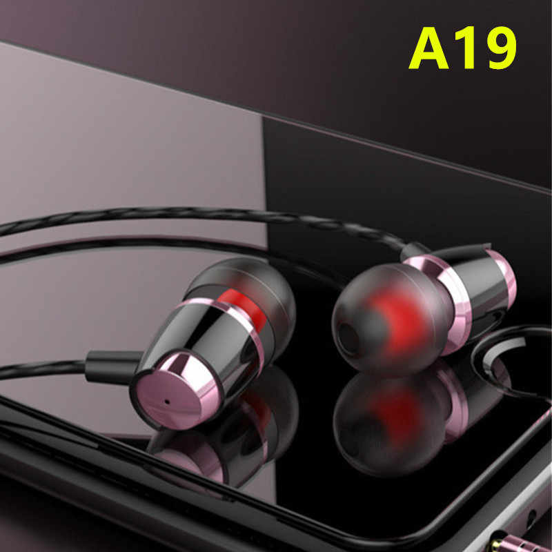 A19 TWS Wired In-Ear Earphone 3.5mm Stereo Music Headphones Portable Headset no bluetooth with Microphone for Xiaomi iPhone