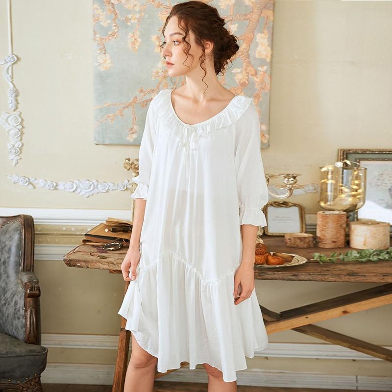 Wasteheart Summer Women Fashion White Blue Cotton Sexy Sleepwear Nightdress Nightwear   Sleepshirts     Nightgown   Sleepwear Home