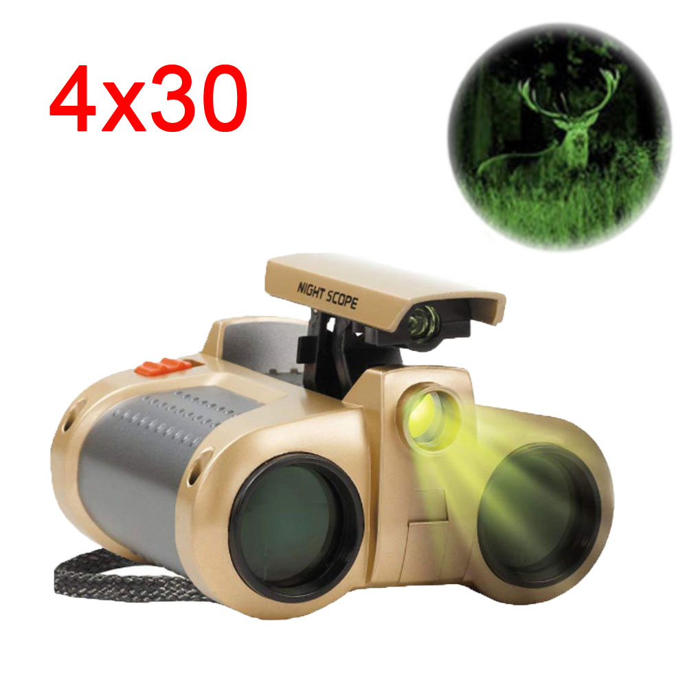 Powerful Binoculars 4x30 Night Vision Viewer Surveillance Telescope Pop-up Light Tool For Kids Outdoor Camping Hiking Advanture