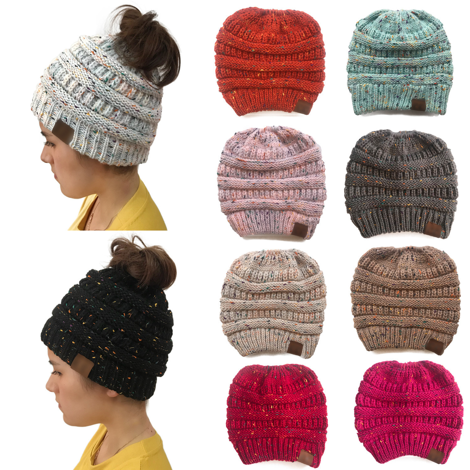 Women's Girls Stretch Knitted Wool Crochet Hats Caps Messy Bun Ponytail   Beanie   Holey Warm Hat Winter Warm Cap   Beanies