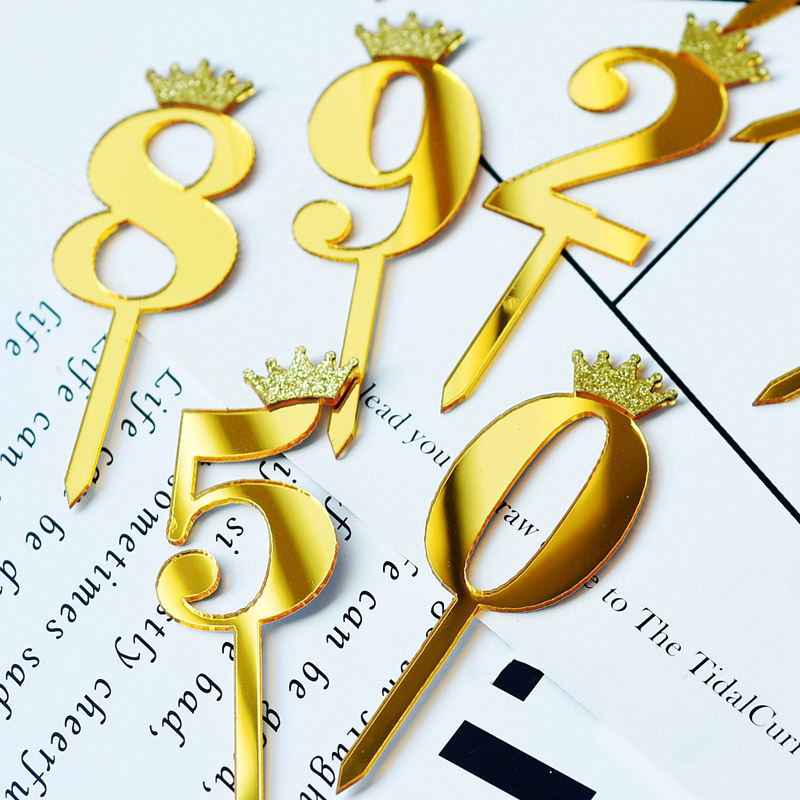 0 9 Numbers Cake Toppers Happy Birthday Cute Crown Number Cake Flag Acrylic Cupcake Topper Birthday Party Cake Decoration Topper in Cake Decorating Supplies from Home Garden