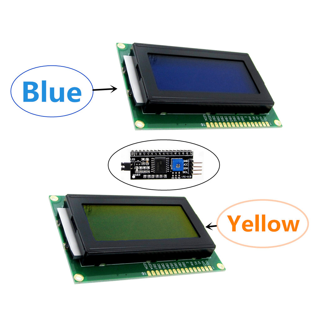 <font><b>1604</b></font> 16X4 16*4 Character LCD Module Display Screen LCM Yellow / Blue With LED Backlight SPLC780 HD44780 Controller IIC / I2C image