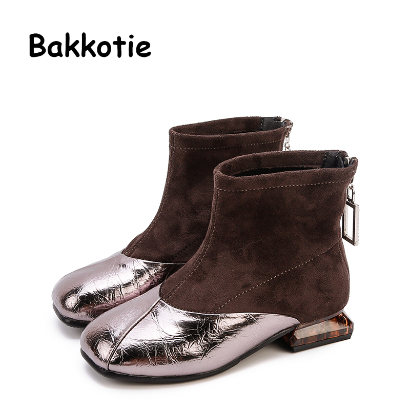 Bakkotie 2019 Autumn Kids New Fashion Shoes Baby Girls Soft Square Toe Zip Ankle Boots Children Genuine Leather Dress Shoes
