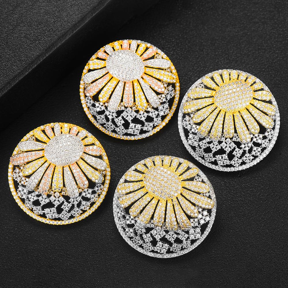 GODKI 43MM Famous Sunflower Luxury Popular Stud Earring For Women Accessories Full Cubic Zircon Earrings pendientes mujer moda
