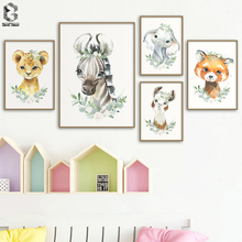 Flower Crown Wild Animals Elephant Tiger Fox Alpaca Zebra Cute Canvas Painting Poster Nursery Wall Art Print For Baby Room Decor