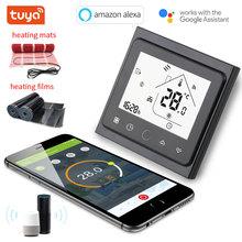 Tuya Wifi programowalny regulator temperatury nagrzewnicy elektrycznej inteligentny termostat ogrzewanie podłogowe współpracuje z Alexa Google Home tanie tanio SHOJZJ 220VAC~240VAC 50 60Hz ZJ-BAC-002A E White Black APP WIFI 10c - 40 5c-99c W86mm*H86mm*D17mm Mobile APP remote control