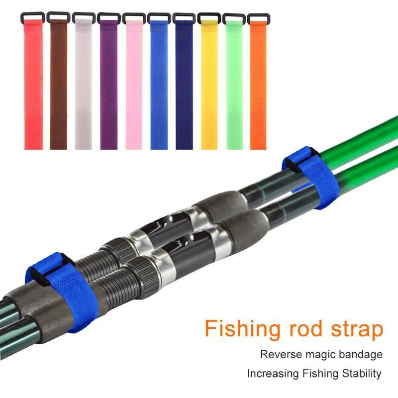 1/10pcs Reusable Fishing Rod Tie Holder Strap Suspenders Fastener Hook Loop Cable Cord Ties Belt Fishing Tackle Tools 20cm