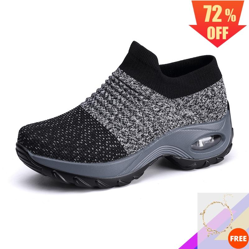 2020 Women Walking Running Shoes Platform Sneakers Vulcanized Dance Shoe Mesh Fly Knit Sock Girls Ladies Slip On Plus Size Big