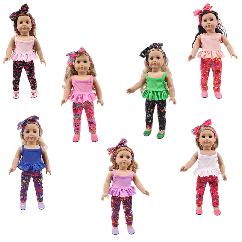Summer Sasual Solid Color Top And Octopus Leggings For 18-Inch American Doll Accessories, Generation, Girl Toy Gifts