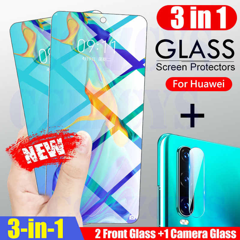 3 في 1 غطاء كامل الزجاج المقسى لهواوي P30 P40 لايت P20 برو P الذكية Z 2019 حامي الشاشة الزجاج ل الشرف 20 10 10i 8X