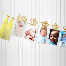 Wall Shower One Year Old String Flag Hanging Banner Set Party Decor Paper Frame Star Monthly Baby Photo Birthday Accessories(China)