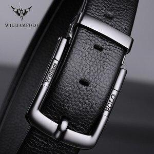 Image 3 - Williampolo cinturón informal de cuero de grano completo para hombre, Cinturón de piel, plateado, Pin, cinturón con hebilla