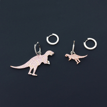 cheny s925 sterling silver new pink dinosaur asymmetric earrings female sweet and interesting temperament pink dinosaur earrings