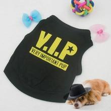 цена на Dog Puppy Clothing Blend VIP Pattern Cotton T-Shirt Clothes Vest Black Teddy Pet
