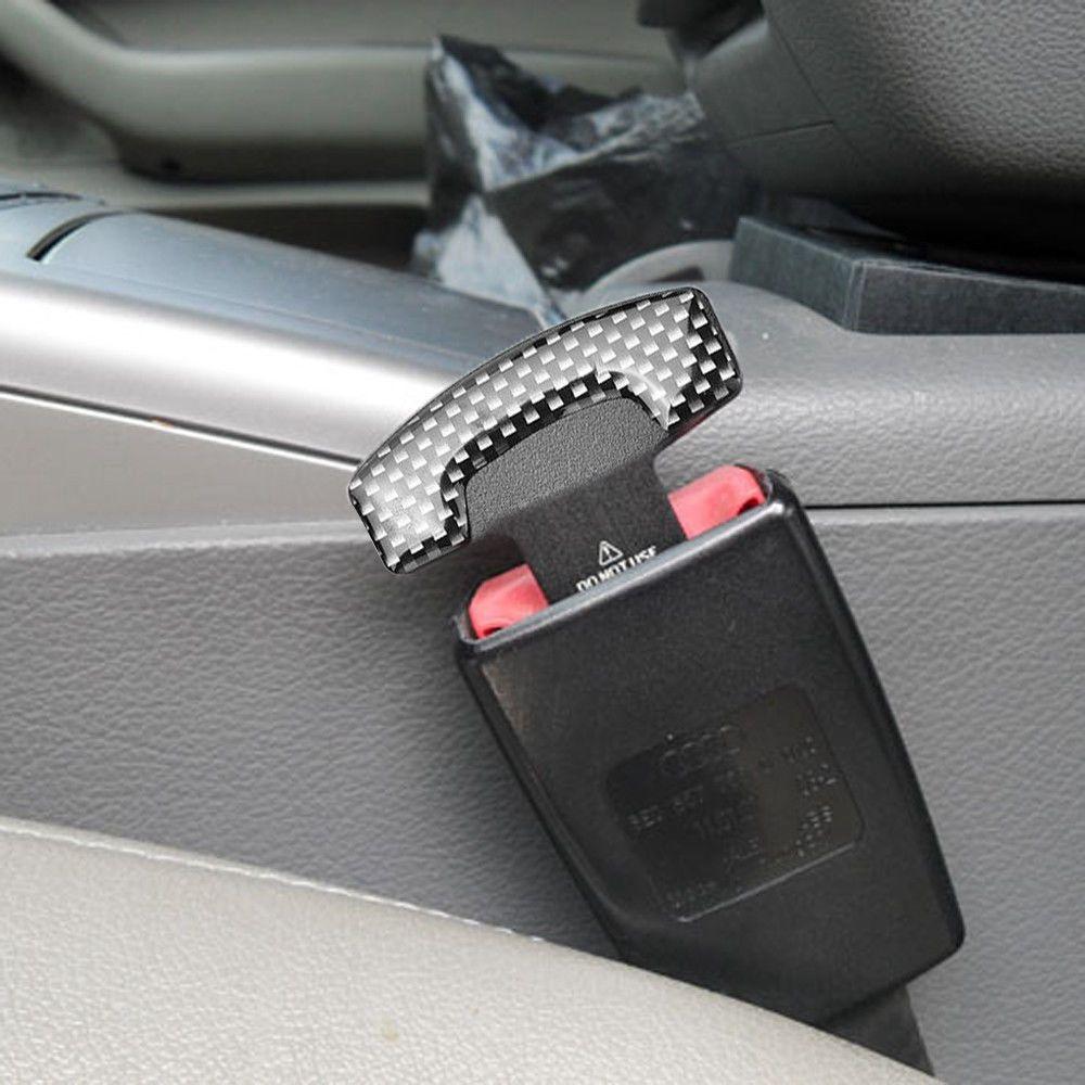 2Pc Universal Carbon Fiber Car Safety Seat Belt Buckle Alarm Stopper Clip Clamp