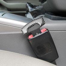Cinturón de seguridad de asiento de fibra de carbono Universal, hebilla de coche, tapón de alarma, abrazadera, accesorios de Interior de coche, 2 uds.