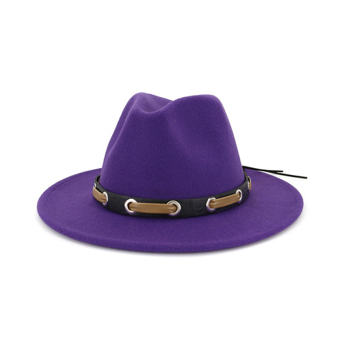 Trendy Men Women Wool Felt Jazz Style Fedora Hats Panama Trilby Party Formal Top Hat In BLACK ,WHITE AND YELLOW with Belt Decor Multan