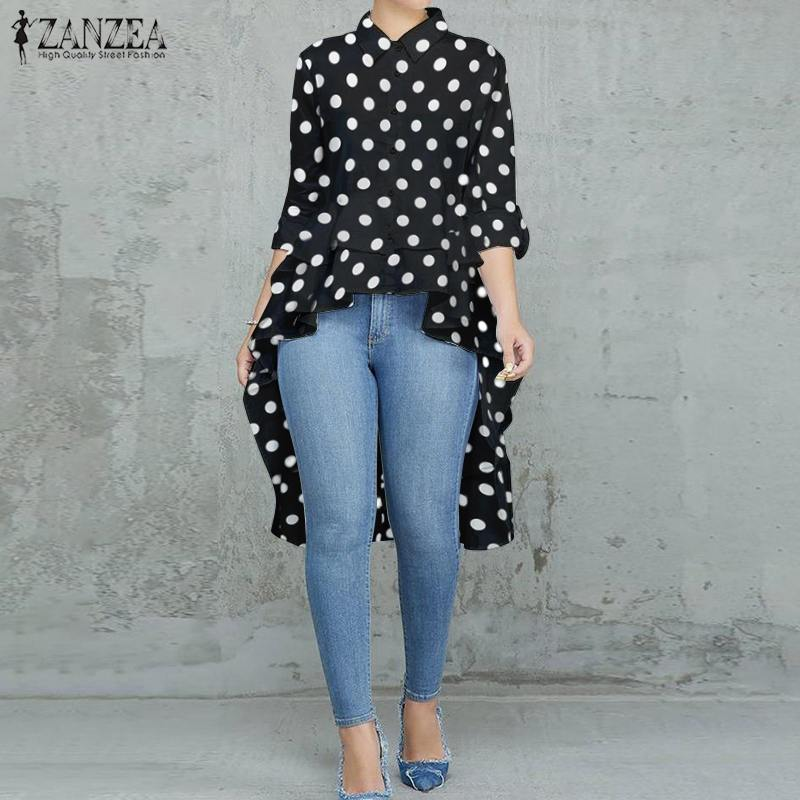 Fashion Women Polka Dot Shirt Asymmetrical Blouse Spring Lapel Neck High Low Tops Tunic Female Long Sleeve Ruffles Hem Blusas