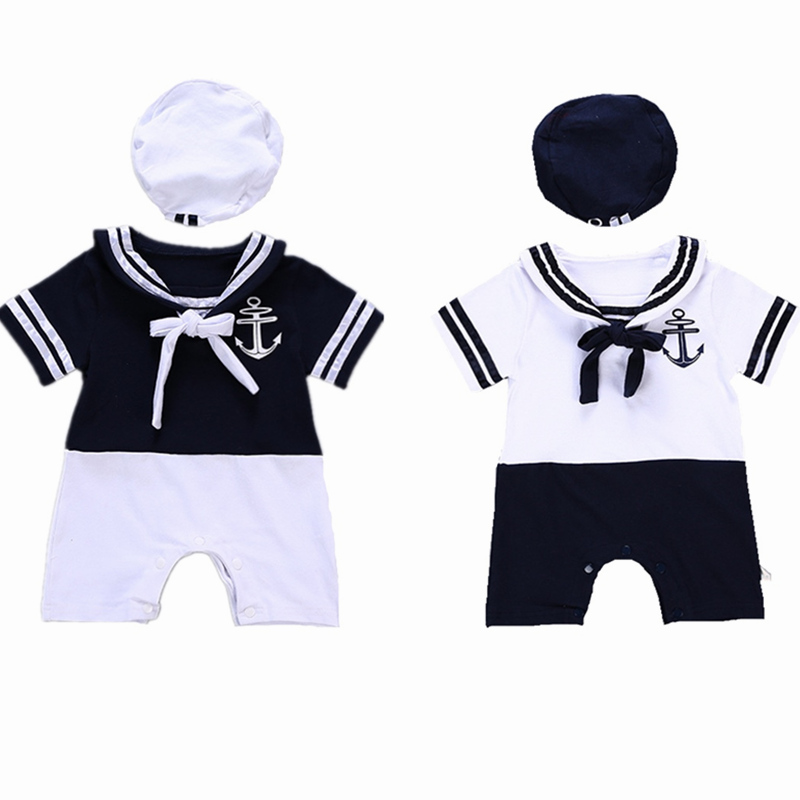 Toddler Boy Navy Academy Summer Wind Clothes Boys Sailor Stripe Romper Marine Navy Collar One Piece 2 Pieces Photo Props Outfit