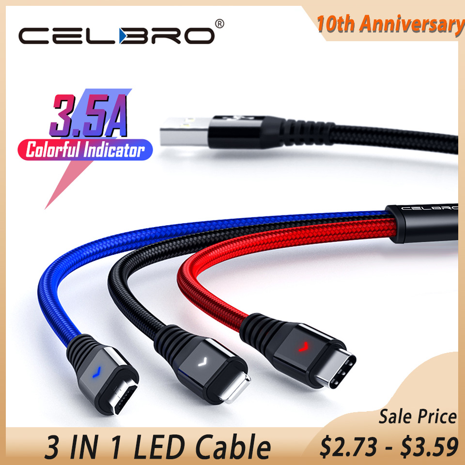 Led 3 In 1 Micro Usb Type C Cable For Samsung S10 S9 Xiaomi Mi A2 Usbc Cabos Usb 3in1 Cable Microusb Charger Kabel Data Wire Mobile Phone Cables     - AliExpress