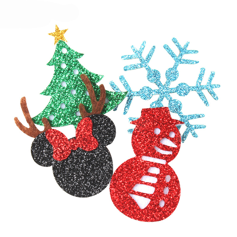 Christmas Baby Headband Set Felt Pads Handmade Diy Headbands Glitter Leather Minnie Hat Tree Snowflake Snowman Hair Accessories