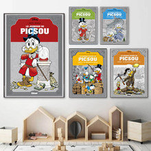 Disney Cartoon Comics Donald Canvas Painting Donald Duck Posters and Prints Wall Art Pictures for Living Home Room Decoration