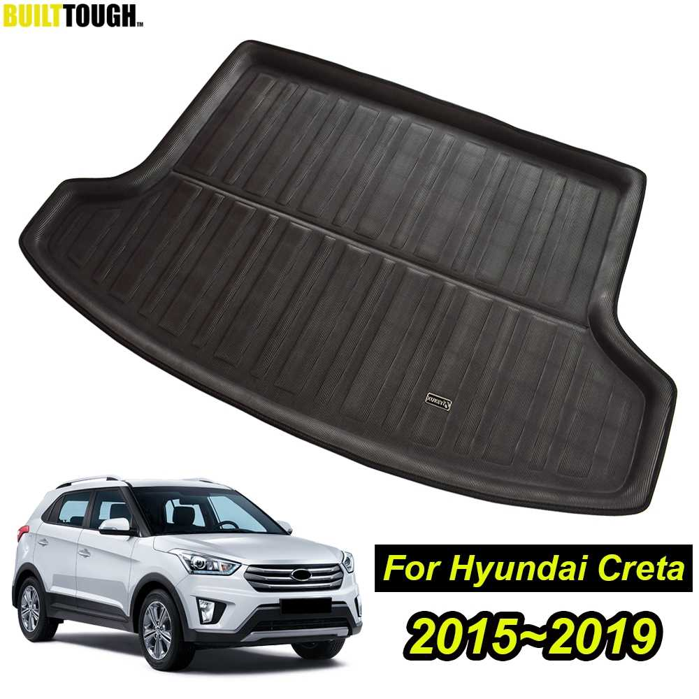 For Hyundai Creta ix25 2015-2018 2019 Car Boot Mat Rear Trunk Liner Cargo Floor Tray Sticker Cover Carpet Kick Protector Styling